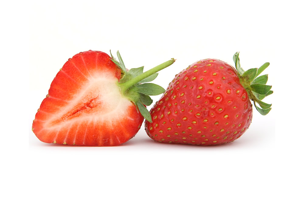 Strawberry in halves