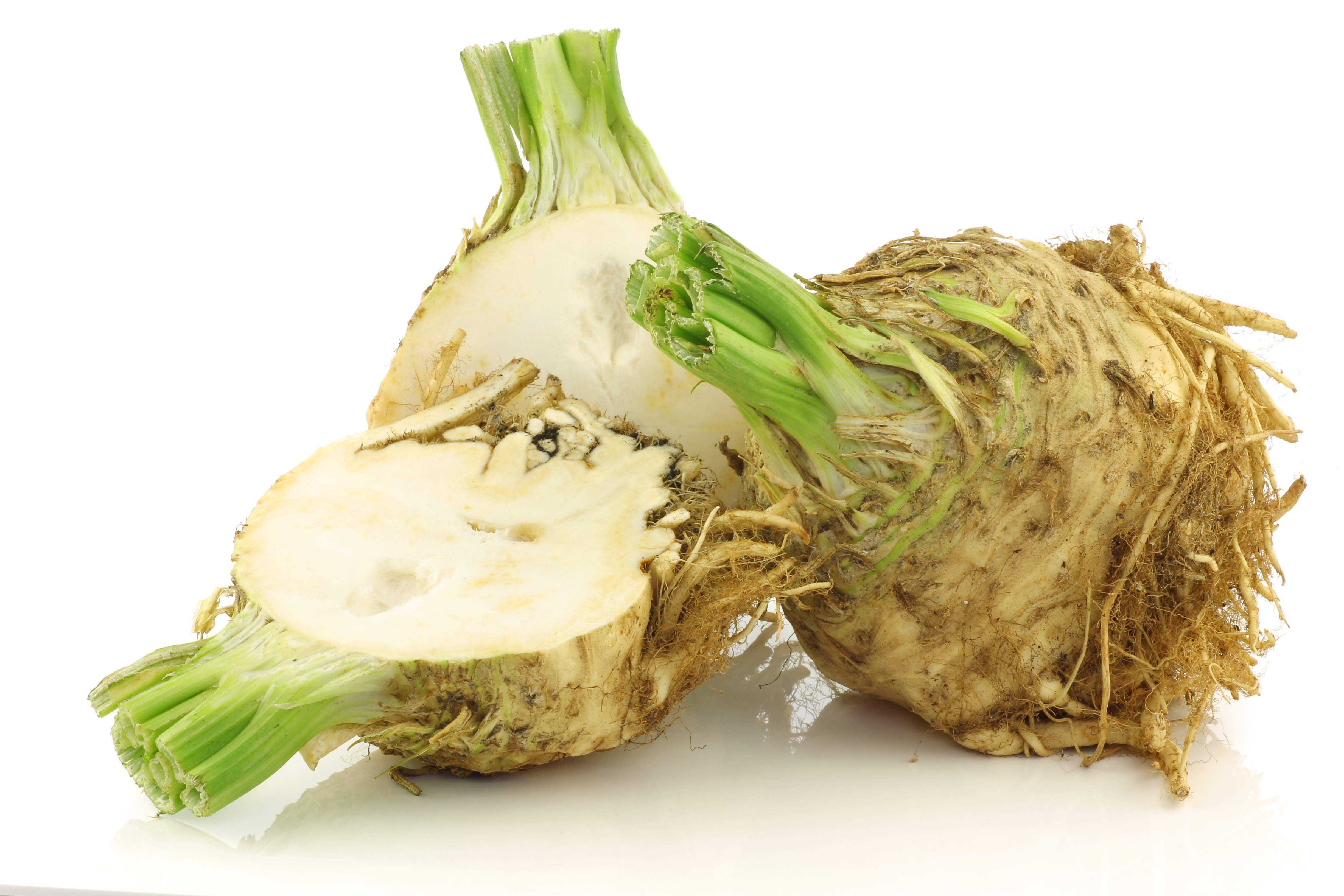Celeriac in julienne and dices